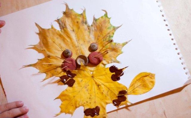Осінній лев – аплікація з осіннього листя