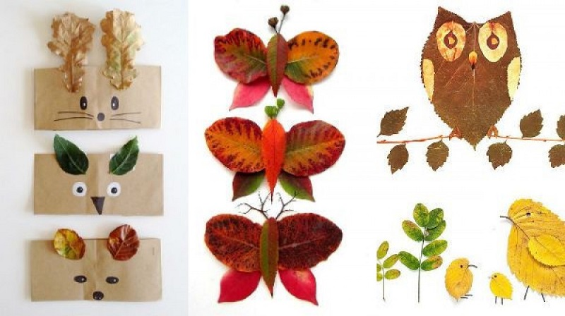 Дитячі аплікації з листя. Техніки аплікацій. 30 ідей