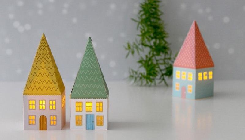 Різдвяні будиночки - ліхтарики з картону. Креслення