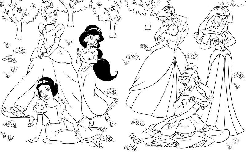 Розмальовки для дівчат - принцеси