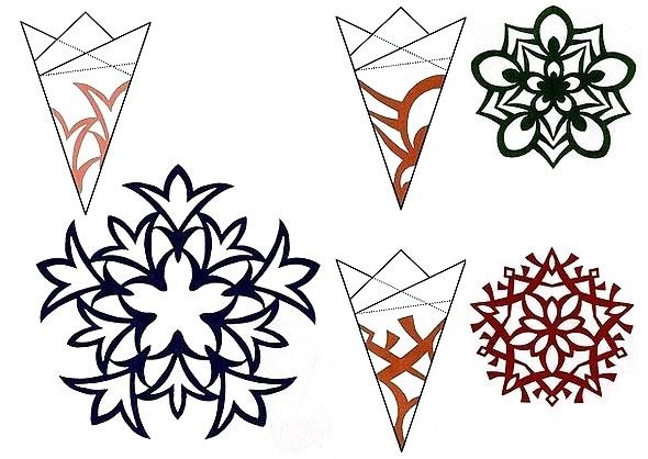 Новорічні сніжинки витинанки. Шаблони