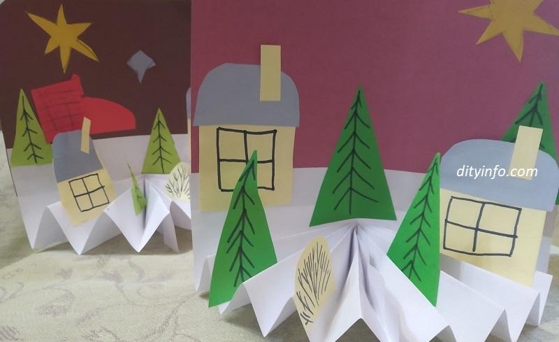 Зимові вироби з паперу для дітей. Картина 3D